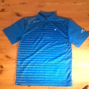 Callaway golf shirt blue striped small